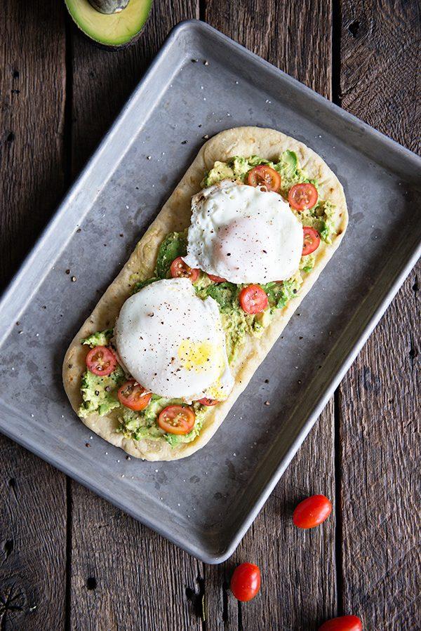 Breakfast egg and avocado flatbread recipe