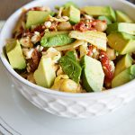 California Avocado Marinated Salad with Chickpeas and Artichokes from dineanddish.net