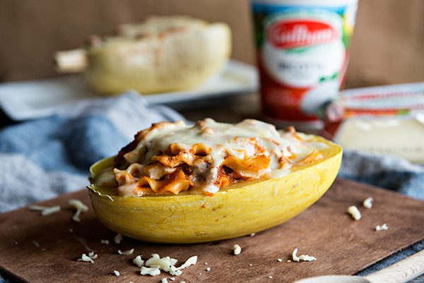 Cheesy Lasagna Stuffed Spaghetti Squash Boats