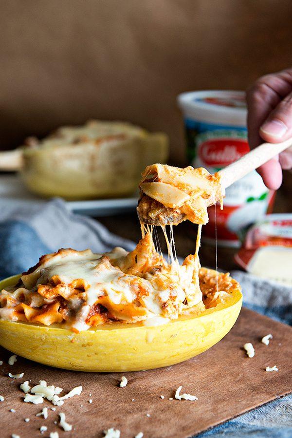 Lasagna Stuffed Spaghetti Squash Recipe - Dine and Dish