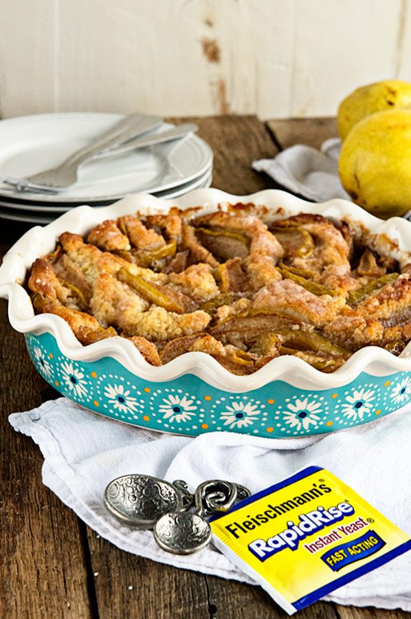 Cinnamon Pear Coffee Cake made with Fleischmann's® Yeast from dineanddish.net