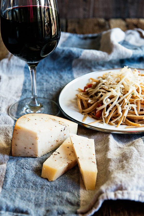 Black Pepper Parmesan Linguine paired with Malbec thanks to Cheese Cupid App
