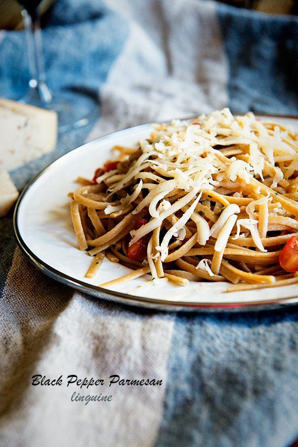 Black Pepper Parmesan Linguine for 2 from dineanddish.net