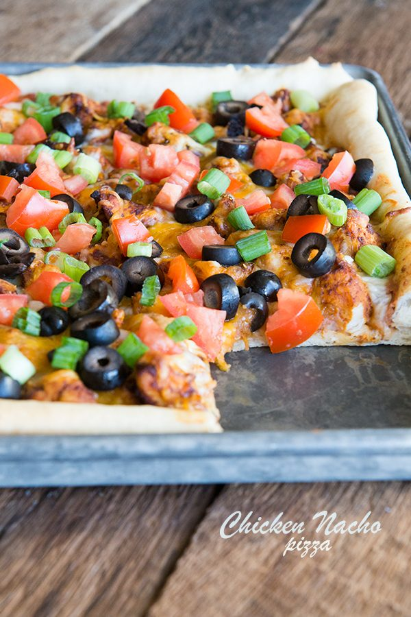 Chicken Nacho Pizza Recipe with Quick Homemade Pizza Crust on dineanddish.net