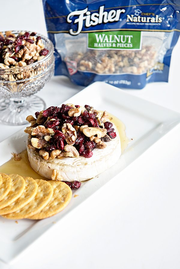 Cranberry Walnut Baked Brie on dineanddish.net