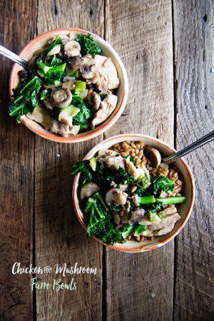 Chicken and Mushroom Farro Bowls Recipe from dineanddish.net