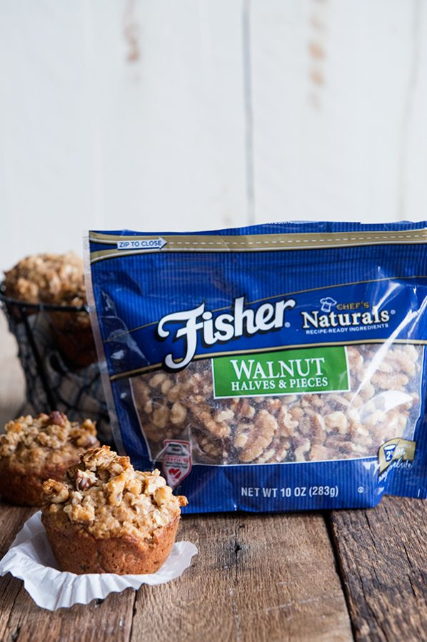 Hearty Muffin recipe featuring Fisher Walnut Halves and Pieces