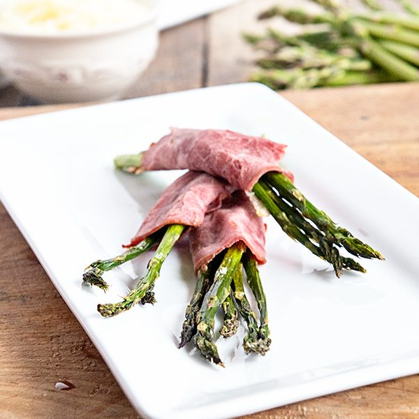 Beef and Swiss Roasted Asparagus Bundles from dineanddish.net