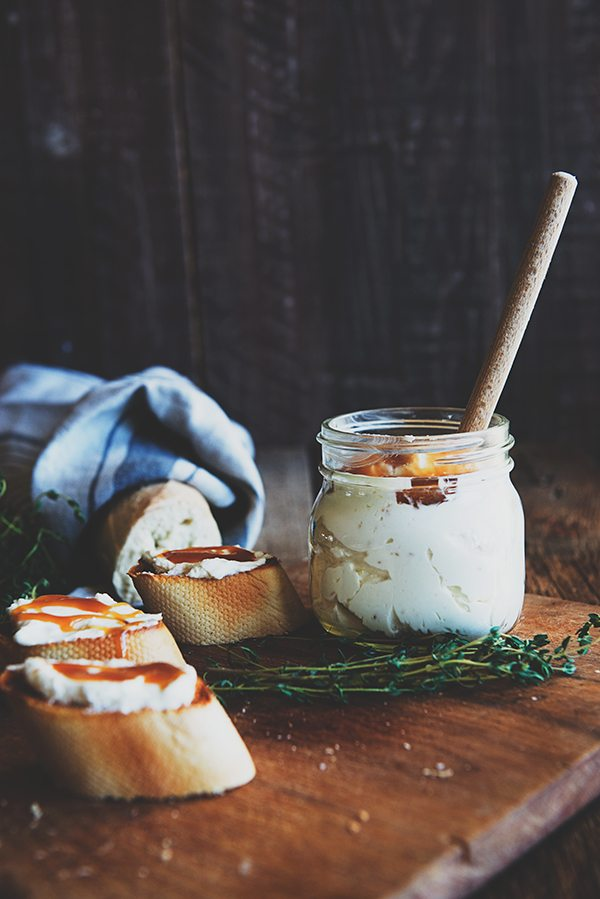 Whipped Goat Cheese and Honey Spread Appetizer from dineanddish.net