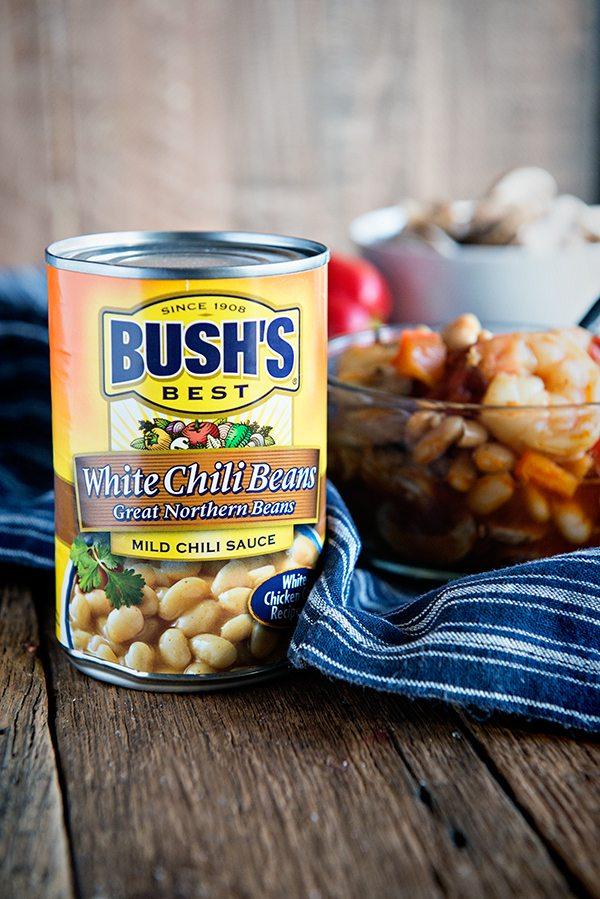 White Bean Shrimp Chili recipe from dineanddish.net
