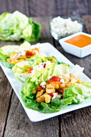 Buffalo Chicken and Beans Lettuce Wraps Recipe