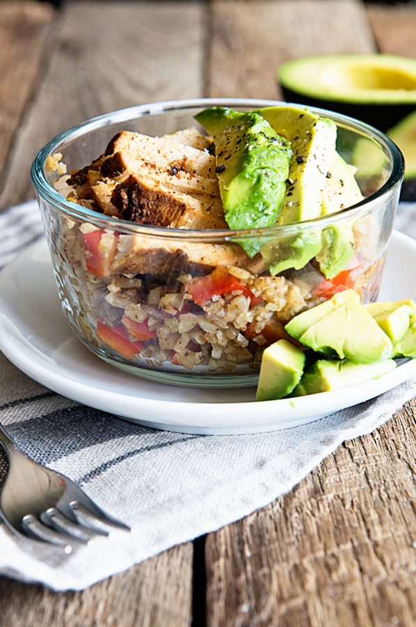 Simple and healthy Cauliflower Rice Bowl with Chili Lime Chicken and Avocado