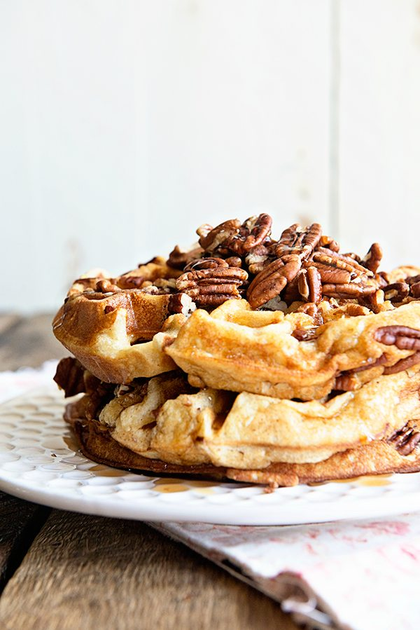 Maple Pecan Waffles Recipe - Dine and Dish