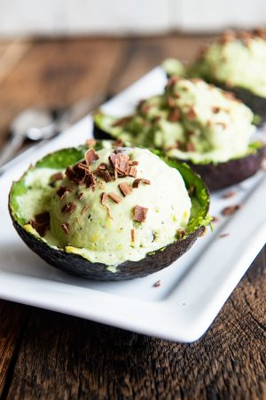 Shortcut Avocado Chocolate Chip Ice Cream is even better served in avocado shells! Recipe on dineanddish.net.