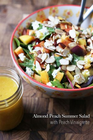 Almond Peach Summer Salad with Peach Vinaigrette