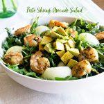 Pesto Shrimp Avocado Salad recipe on dineanddish.net