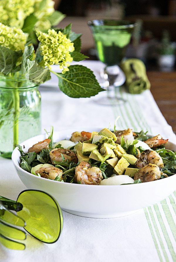 Healthy Pesto Shrimp Avocado Salad Recipe on dineanddish.net