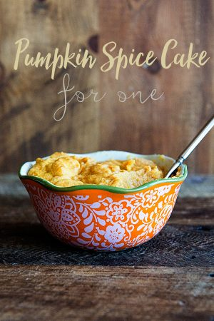 Pumpkin Spice Cake Recipe for One on dineanddish.net