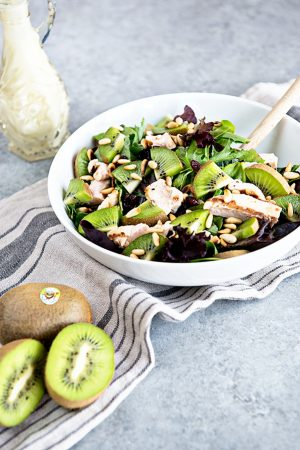 Kiwi and Chicken Salad with Goat Cheese Dressing