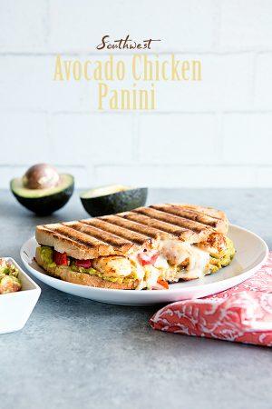 Southwest Avocado Chicken Panini Sandwich Recipe from dineanddish.net