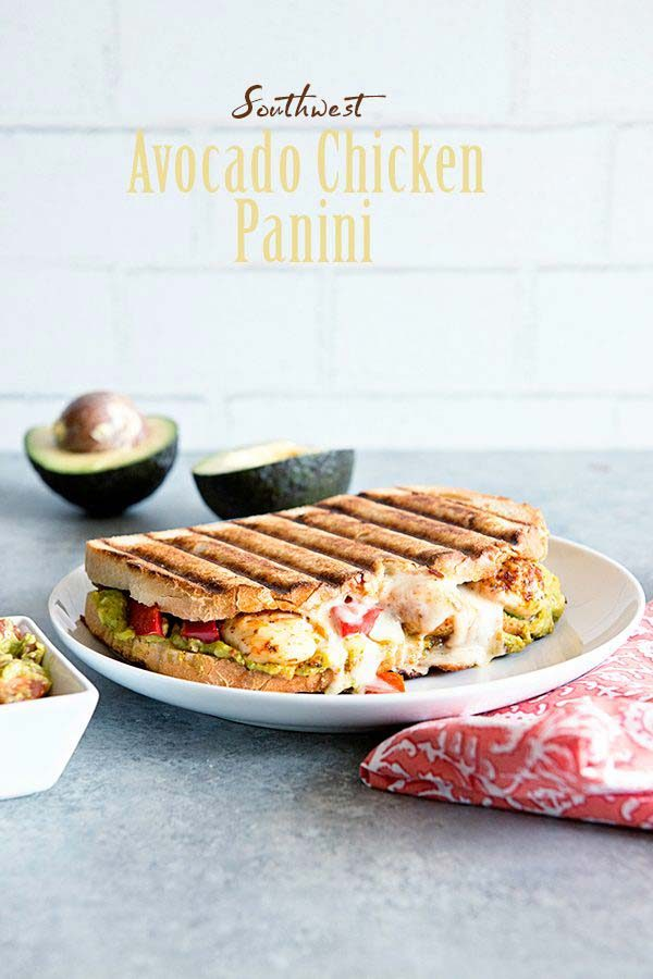 Southwest Avocado Chicken Panini Sandwich Recipe from dineanddish.net