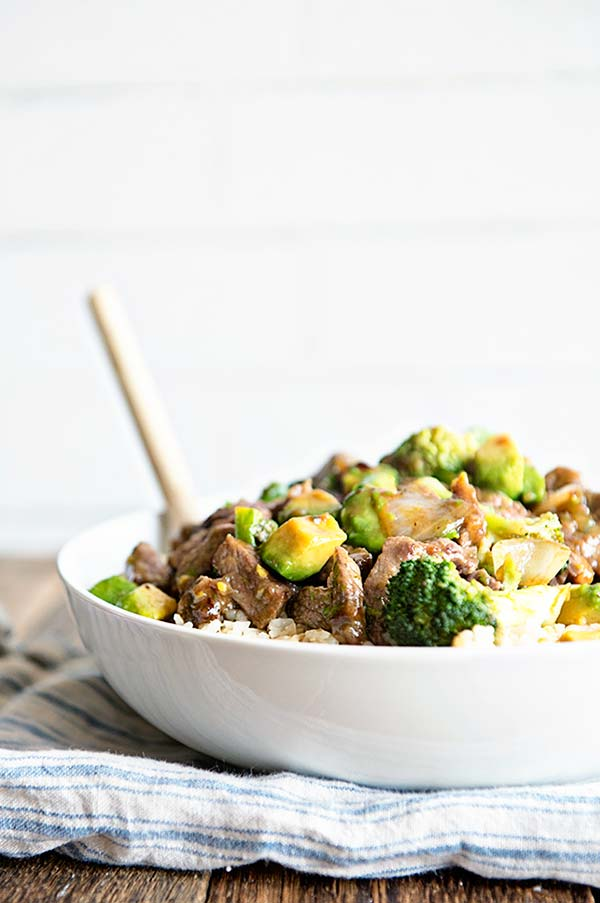 Beef Avocado and Broccoli Stir Fry