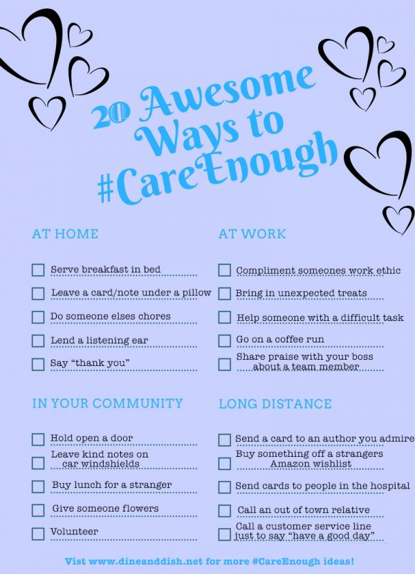 20 easy yet awesome ways to show you #CareEnough
