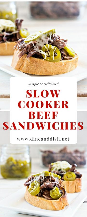 Slow Cooker Roast Beef Sandwiches are a monthly staple in our house. If you are looking for creative chuck roast ideas, give this open faced sandwich recipe a try! From dineanddish.net.