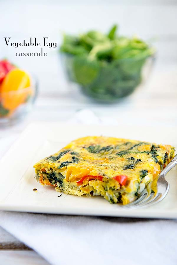 Vegetable Egg Casserole Recipe, only 1 Weight Watchers Smart Point per serving! Recipe from dineanddish.net
