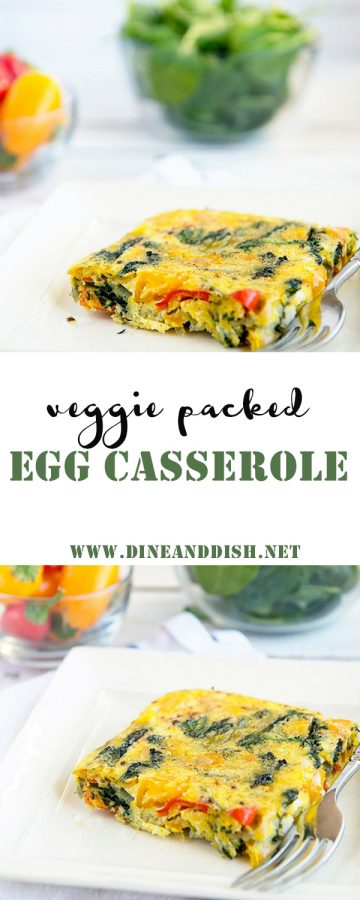 A Veggie Packed Healthy Egg Casserole recipe that's only 1 Weight Watchers Smart Point per serving. Get this simple recipe on dineanddish.net.