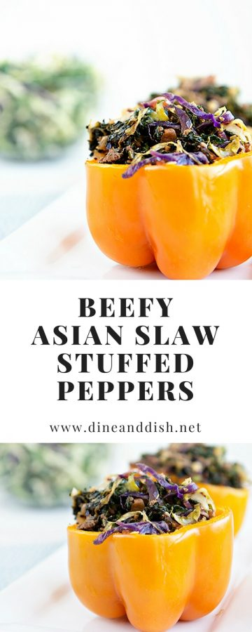 Low Carb Beefy Asian Slaw Stuffed Peppers Recipe from dineanddish.net