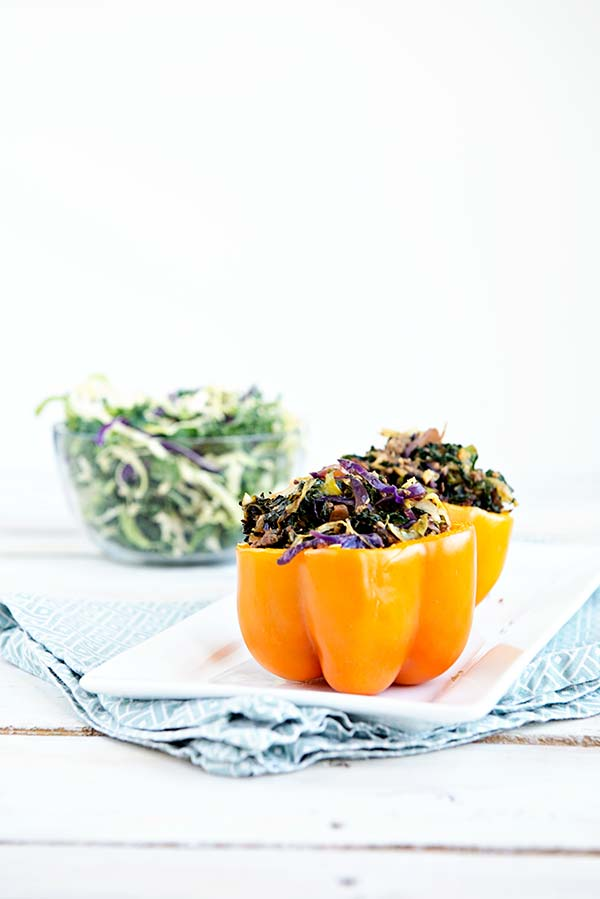Low Carb Beefy Asian Slaw Stuffed Peppers from dineanddish.net