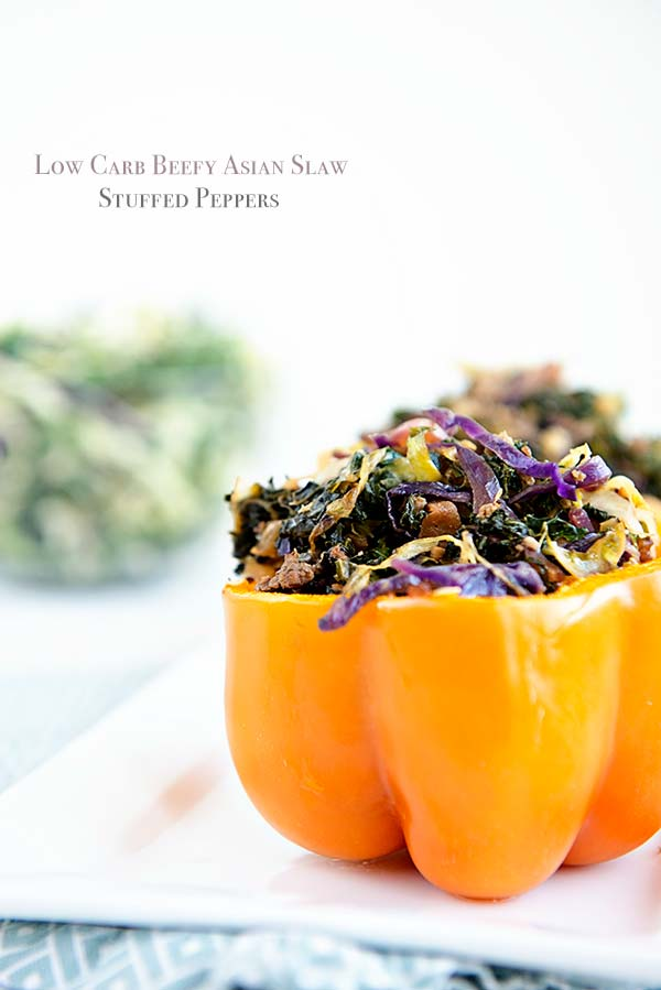 Low Carb Beefy Asian Slaw Stuffed Peppers Recipe