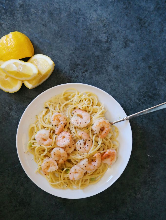 Lemon Shrimp Spaghetti Toss Recipe from dineanddish.net