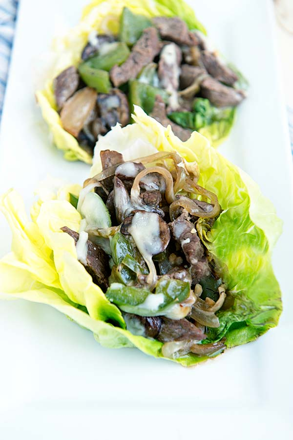 Cheesesteak Lettuce Cups recipe from dineanddish.net