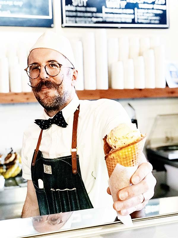 Coneflower Creamery Ice Cream and Owner with Handlebar Mustache part of Omaha Culinary Tours