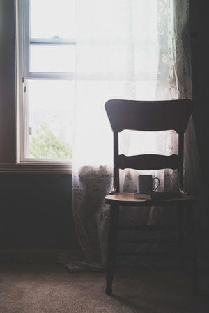 Sheer curtains, an antique chair and coffee = happiness on dineanddish