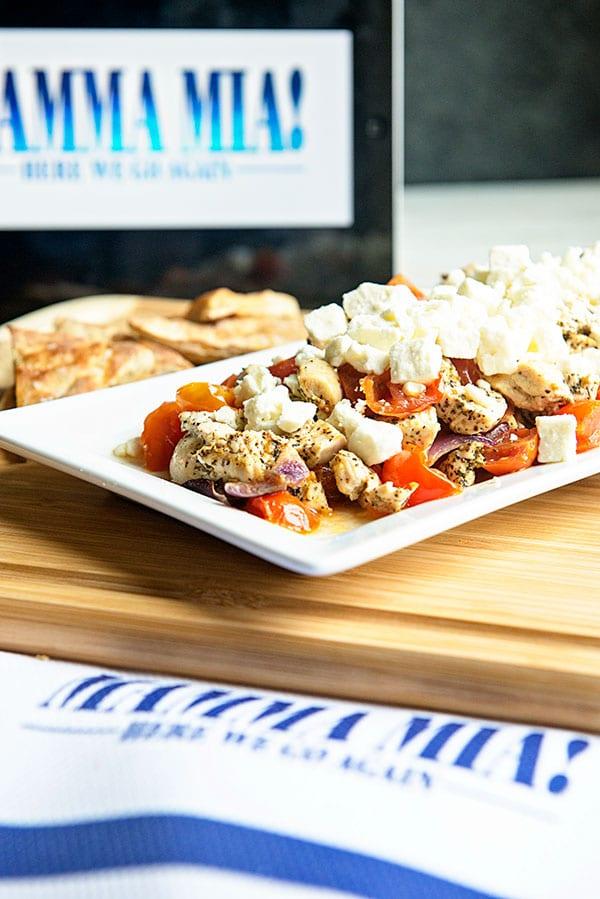 Greek Feta Chicken Appetizer Recipe for Mamma Mia Movie Night In on dineanddish.net