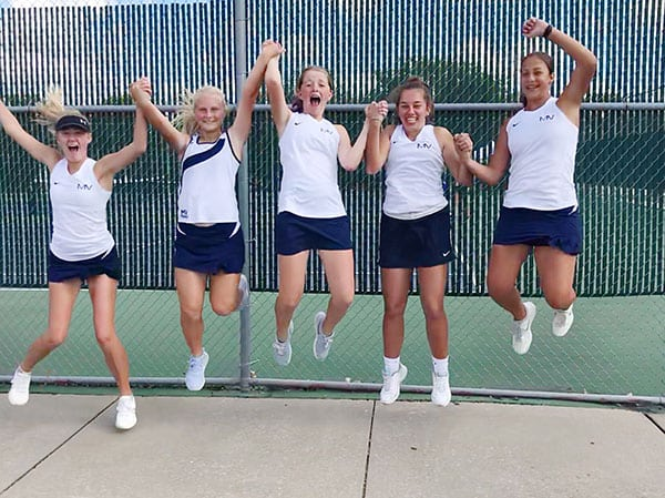 Kelly Doyle and Mill Valley High School JV tennis team