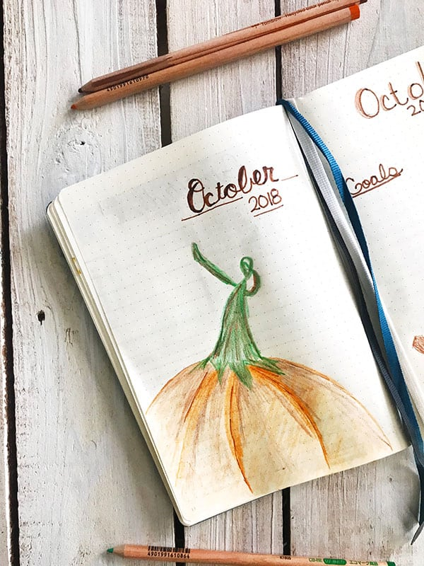 October 2018 Bullet Journal Cover Page on dineanddish.net