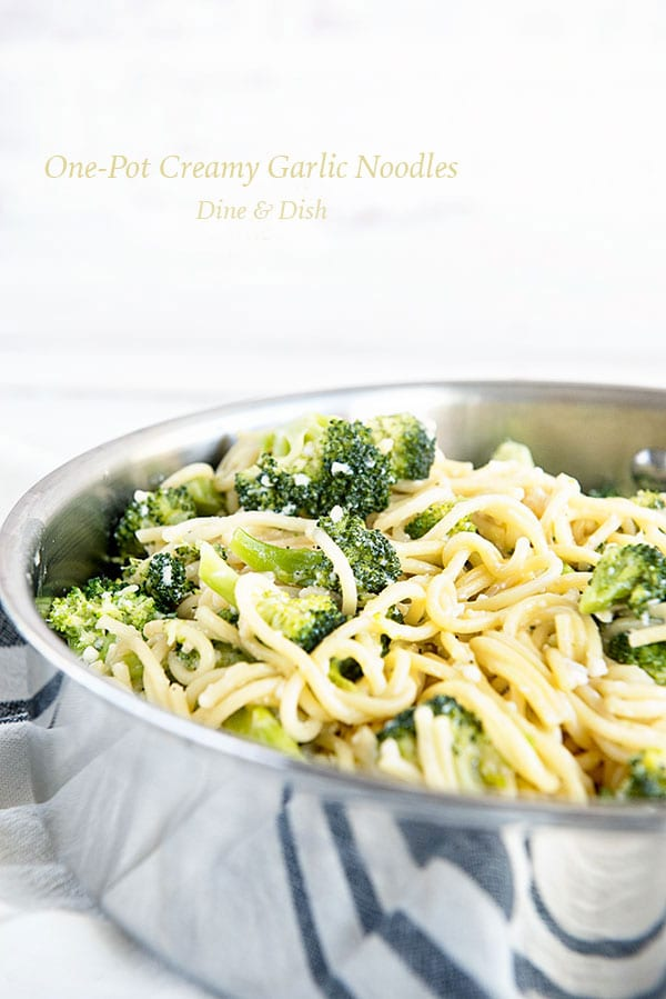 One Pot Creamy Garlic Noodles recipe from the A Year of Favorites Cookbook