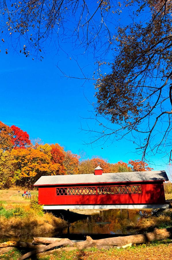 Happy Things - a red covered bridge surrounded by trees with fall colored leaves.