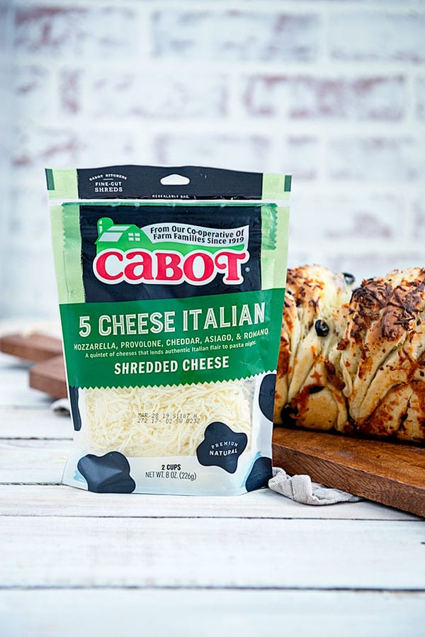 A bag of Cabot 5 Cheese Italian Bread with Olives