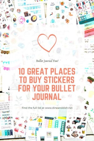 A flatlay with sheets of stickers and text that says 10 Great Places To Buy Stickers for Your Bullet Journal