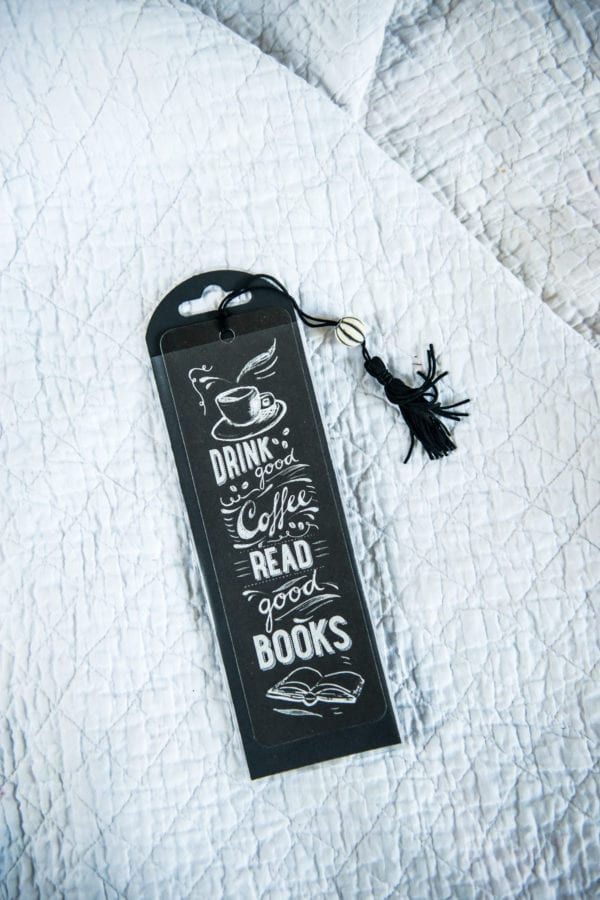 Drink Good Coffee Read Good Books Bookmark on a white background