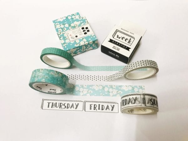 3 sets of washi tape including days of the week and floral